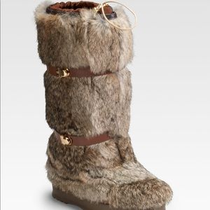 Tory Burch rabbit fur boot with buckles. Worn once